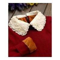 娃娃领针织毛衣女修身加绒加厚毛衣短款带领打底衫秋冬季保暖上衣