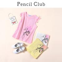 【3件2折:27.8】铅笔俱乐部童装2020夏装新款女童流苏袖T恤中大童休闲上衣儿童