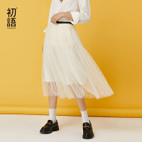 【2件3折 �B券�A估�r:75.86元】初�Z�W�半裙2020新款白色半身裙女秋小�r菊雪�高腰a字百褶裙潮