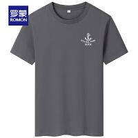 【2折预估到手价:42叠券更优惠】罗蒙男士短袖T恤衫2021夏季新款中青年圆领上衣时尚休闲百搭T恤男