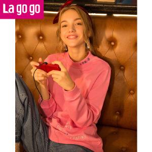 Lagogo2017年秋冬季新款粉色字母刺绣印花小高领长袖卫衣女宽松