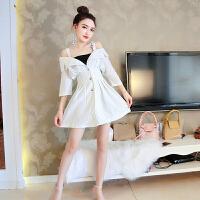 套装女夏韩版俏皮新款V领条纹高腰五分袖吊带连衣裙+吊带两件套潮 米白色