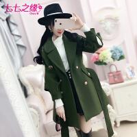 冬装新款女装 绿色镂空灯笼袖蜜蜂绣花毛呢外套大衣