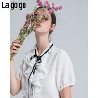 【618大促-每满100减50】Lagogo2018年夏季新款女雪纺系带短袖韩范白衬衫立领港风上衣潮HACC234A1