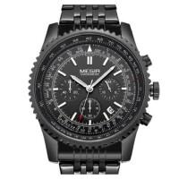 韩版时尚潮流手表多功能三眼男士石英手表钢带防水运动手表