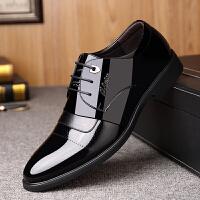男士皮鞋秋季商务休闲正装黑色韩版潮漆皮透气英伦尖头内增高鞋男