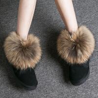 皮毛一体雪地靴女真皮低短筒牛皮雪地靴貉子毛内增高短靴SN2625 37(平底\ 正码)