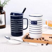北欧陶瓷情侣杯子一对创意办公室咖啡杯带盖勺马克杯家用ins水杯