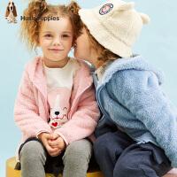 【秒杀价: 89元】暇步士童装秋季新款男女同款小童外套时尚卡通毛绒连帽外套儿童外套(80-130)