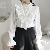 雪纺衫女长袖气质上衣2018春季韩版chic修身纯色喇叭袖小衫