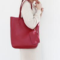 真皮包包女2019新款时尚软皮包单肩包简约大容量头层牛皮大包