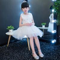 女童礼服公主裙钢琴演出服小主持人儿童礼服裙婚纱花童公主蓬蓬裙4243 白色