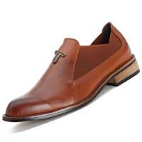 青年韩版一脚蹬小皮鞋男潮流英伦男鞋套脚真皮尖头休闲棕色软面皮