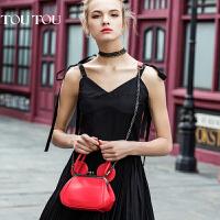 toutou新款潮韩版女包斜挎包迷你链条包手提单肩包可爱红色小包包