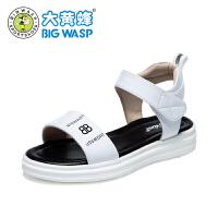 【1件5折�r:89元】大�S蜂童鞋 女童�鲂�2019夏季新款女孩�n版厚底公主鞋 �和�皮�鲂�