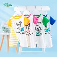 迪士尼Disney童装 婴儿连体衣男女宝宝条纹拼接爬服夏季新品侧开哈衣迪斯尼衣服