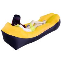 充气沙发 懒人充气沙发便携户外沙滩空气沙发床拼色懒人睡袋床 黑黄 210T纳米尼龙