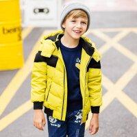美特斯邦威旗下Moomoo童装男童撞色拼接羽绒服冬季中大童短款加厚羽绒服男