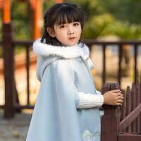女童汉服民族风刺绣毛呢外套宝宝唐装女冬连帽斗篷《福-无忧》 浅蓝色