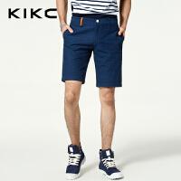 kikc男装休闲裤2018夏季新款纯棉波点纯色青少年时尚五分短裤男士