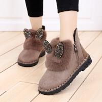女大童鞋16学生加绒棉鞋12韩版加厚保暖冬鞋13休闲毛毛鞋15岁冬靴