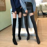 2018新款过膝靴女长靴中高跟瘦瘦靴粗跟长筒靴子女冬季高筒小辣椒