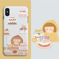 插画雨衣女孩与小柴橱窗蛋糕iphone华为oppo小米手机壳
