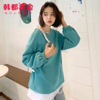 韩都衣舍2020春装新款韩版女装上衣宽松圆领套头卫衣潮JZ12795瑭