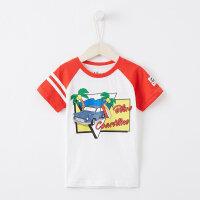 【1件2.5折到手价:21.3】美特斯邦威旗下Moomoo童装男中童袖相拼针织T恤