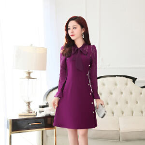 2018新款女装连衣裙长袖韩版时尚春装潮蕾丝修身显瘦气质打底裙子