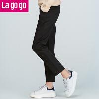 Lagogo2017秋冬新款纯黑色高腰开衩直筒休闲裤长裤子女百搭显瘦