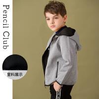 【2折价:55】铅笔俱乐部童装男童外套2019秋冬新款儿童针织外套中大童连帽外套