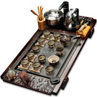 功夫陶瓷简约茶具套装整套家用全自动喝茶台茶道实木茶盘紫砂 jk7
