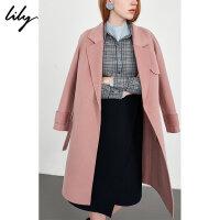 Lily春秋新款女装纯色系带收腰毛呢外套双面呢大衣118359F1920