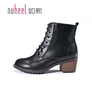 如熙马丁靴秋冬季新款女靴子圆头短靴粗跟潮短筒中跟系带女鞋