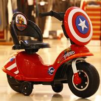 新款儿童电动摩托车三轮车小孩玩具车大号电瓶童车男女宝宝可坐 高配红色+灯光+早教+礼包 大电瓶6v7