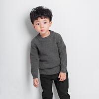 男童手肘补丁套头羊绒毛衣男宝宝秋冬时尚圆领套头羊毛衫