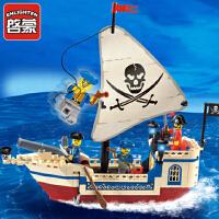 启蒙积木小颗粒拼装玩具拼插模型6-10岁儿童益智玩具海盗系列304 儿童礼物 拼装积木玩具 188块颗粒