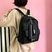 韩国圆环刺绣字母百搭学院复古男女学生双肩包情侣背包休闲书包潮