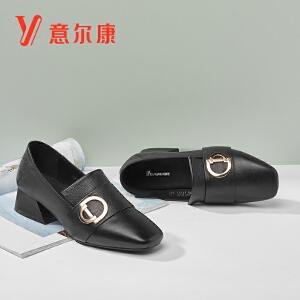 【真皮套脚舒适女鞋】意尔康女鞋2018秋季新款平底粗跟时尚女士单鞋