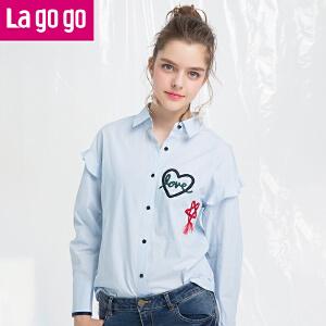Lagogo2018春季新品刺绣印花条纹休闲衬衫长袖上衣女宽松秋冬打底