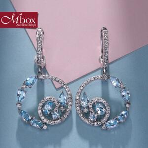 新年礼物Mbox耳环 气质女款韩国版原创采用S925银托帕石耳钉耳环 永恒的爱