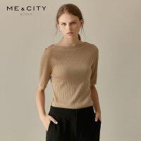 【1件4折到手价:142】MECITY女装秋季新款修身五分袖圆领条纹毛衣