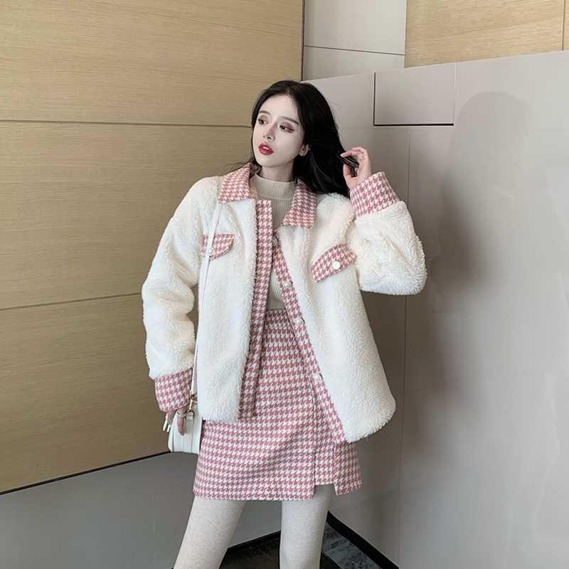 复古宽松格子外套+高腰A字半身短裙秋冬2020新款时尚套装两件套女
