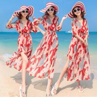 2018波西米亚显瘦雪纺连衣裙海边度假沙滩长裙 红色