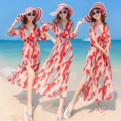 2018波西米亚显瘦雪纺连衣裙海边度假沙滩长裙 红色 发货周期:一般在付款后2-90天左右发货,具体发货时间请以与客服协商的时间为准