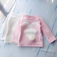 冬天绒小白兔T恤 女童宝宝保暖上衣长袖加绒打底衫