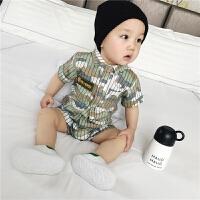 婴儿爬爬服夏季新生儿软牛仔衣服外出短袖迷彩宝宝连体衣夏装