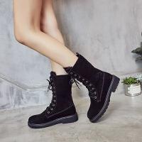 雪地靴女2018新款英���R丁靴真皮平底加�q中短筒靴子冬季保暖棉鞋SN4798