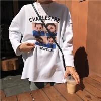 秋冬女装韩版中长款女孩人像字母宽松加绒加厚长袖打底衫T恤上衣 均码